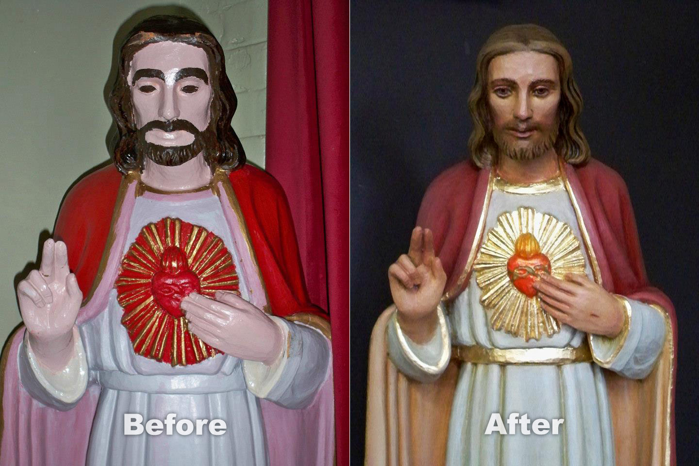 Sacred Heart - before & after